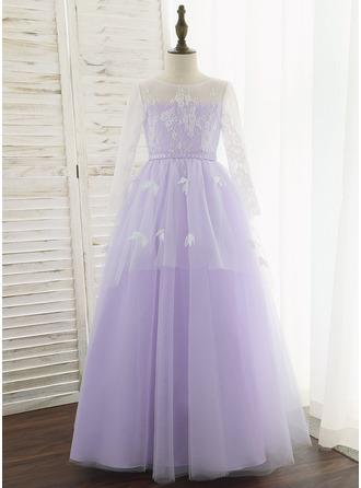 De Baile/Princesa Longos Vestidos de Menina das Flores - Tule/Renda Manga comprida Decote redondo com fecho de correr