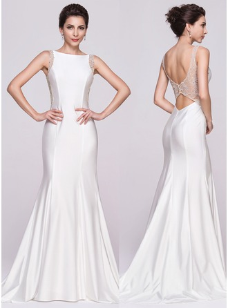 Trumpet/Mermaid Scoop Neck Court Train Jersey Evening Dress With Beading Sequins