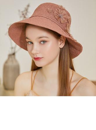 Dames Exquis/Le plus chaud Raphia paille avec Fleur en soie Chapeaux de plage / soleil/Chapeaux Tea Party