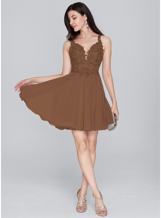 A-Line Sweetheart Short/Mini Chiffon Homecoming Dress With Beading Sequins