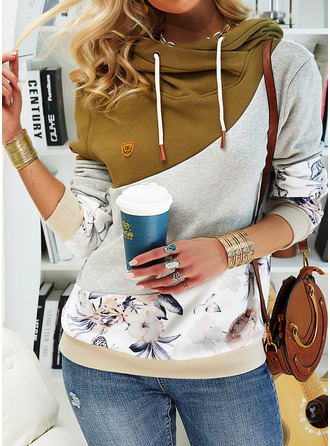 Color Block Floral Print Long Sleeves Hoodie