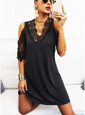 Lace Solid Sheath 1/2 Sleeves Midi Little Black Casual Dresses