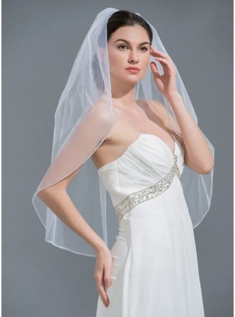 One-tier Beaded Edge Elbow Bridal Veils With Beading