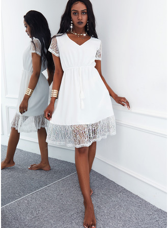 Solid A-line Short Sleeves Midi Casual Skater Dresses