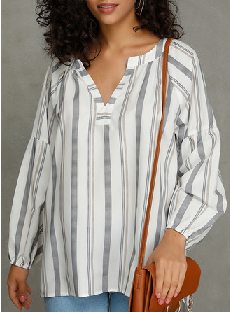 Striped V-Neck Long Sleeves Casual