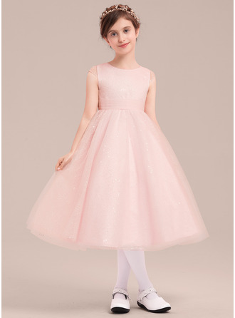 Forme Princesse Longueur mollet Robes à Fleurs pour Filles - Tulle Sans manches Col rond avec À ruban(s)