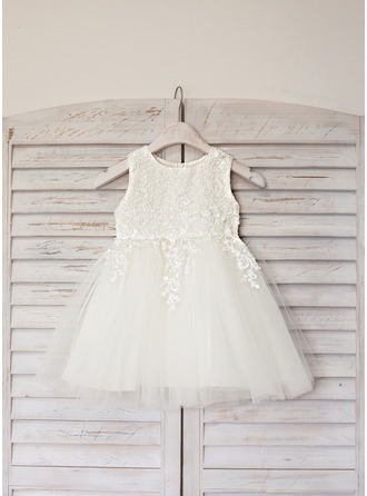 A-Line/Princess Knee-length Flower Girl Dress - Satin/Tulle Sleeveless Scoop Neck With Lace