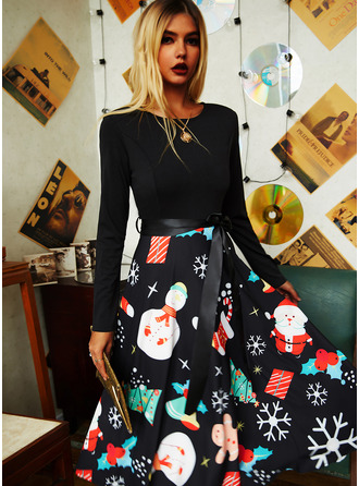 Print A-line Long Sleeves Midi Party Vintage Christmas Skater Dresses