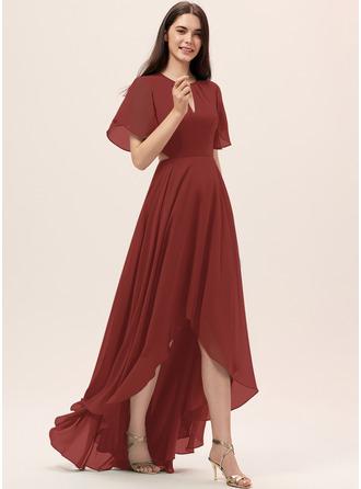 A-Line Scoop Neck Asymmetrical Chiffon Bridesmaid Dress