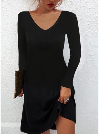 Solide Shiftjurken Lange Mouwen Mini Zwart jurkje Casual Tunieken ()