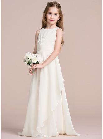 A-Linie/Princess-Linie U-Ausschnitt Bodenlang Chiffon Kleid für junge Brautjungfern mit Gestufte Rüschen