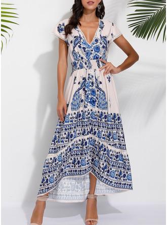 Floral Print A-line Short Sleeves Midi Boho Casual Vacation Skater Dresses
