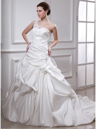 Corte de baile Un sólo hombro Cola capilla Satén Vestido de novia con Volantes Bordado Los appliques Encaje Flores