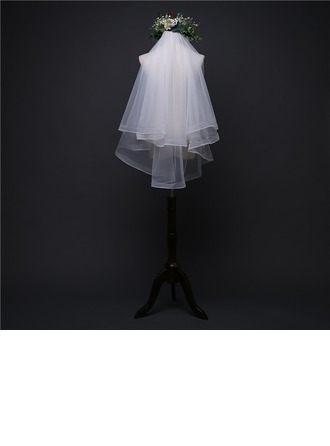 Two-tier Ribbon Edge Elbow Bridal Veils With Organza Binding