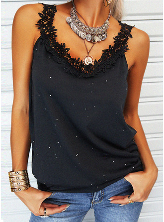 Lace Print Strap Sleeveless Casual Tank Tops