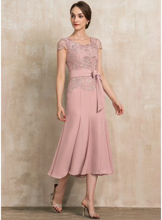 Trumpet/Mermaid Scoop Neck Tea-Length Chiffon Lace Cocktail Dress With Bow(s)