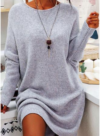 Solid Skiftekjoler Lange ærmer Midi Casual Tunika Mode kjoler