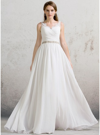Corte A/Princesa Escote en V Hasta el suelo Gasa Vestido de novia con Volantes Encaje Cuentas