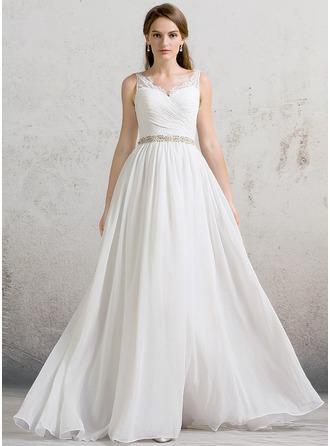 A-Line/Princess V-neck Floor-Length Chiffon Wedding Dress With Ruffle Lace Beading