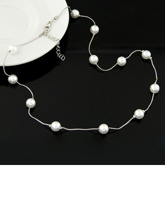 Con estilo Aleación La perla de faux con Perlas de imitación Señoras' Collar de la manera (Sold in a single piece)