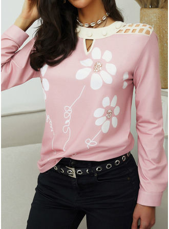 Floral Round Neck Long Sleeves Casual Blouses