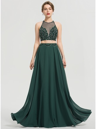 ef1861a978e A-Line Scoop Neck Floor-Length Chiffon Prom Dresses With Beading Sequins