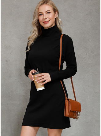 Solid Bodycon Long Sleeves Mini Little Black Casual Dresses