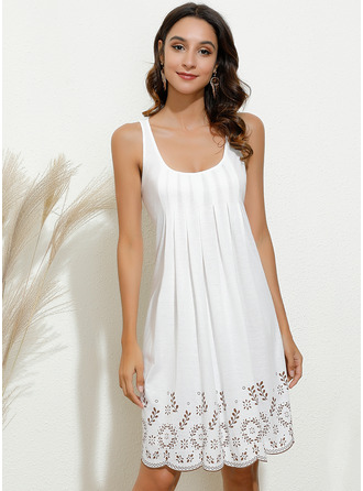 Knee Length U Neck Polyester Print Sleeveless Fashion Dresses
