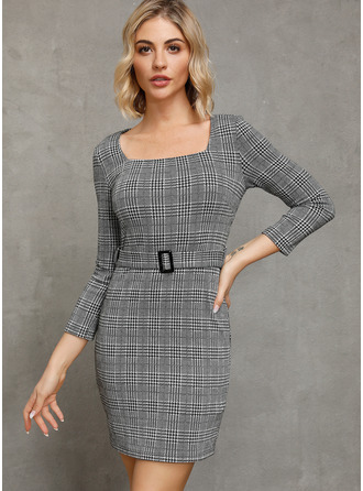 Above Knee Square Neck Polyester Plaid Long Sleeves Fashion Dresses