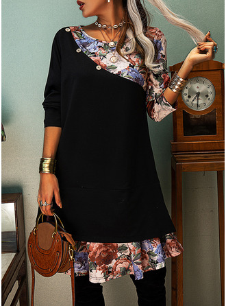 Floral Print Shift Long Sleeves Midi Casual Tunic Dresses