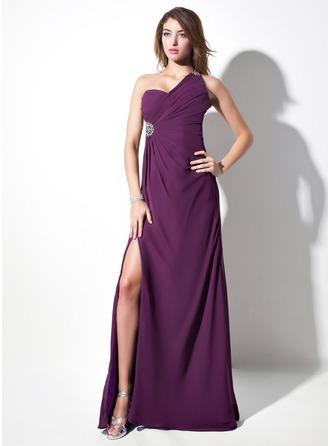 Sheath/Column One-Shoulder Sweep Train Chiffon Evening Dress With Ruffle Beading Split Front