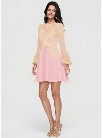 A-Line/Princess Scoop Neck Short/Mini Chiffon Homecoming Dress With Beading Bow(s) Cascading Ruffles