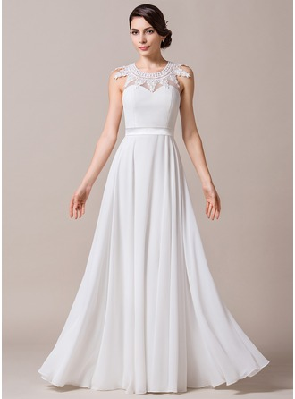 A-Line/Princess Scoop Neck Floor-Length Chiffon Wedding Dress With Lace Beading
