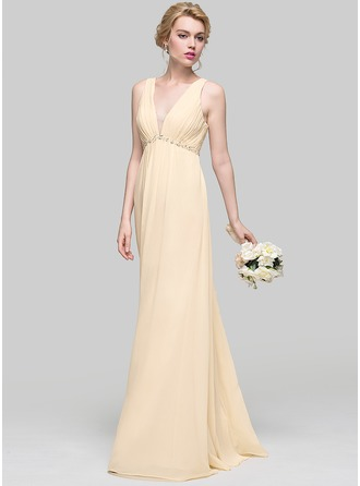 A-Line/Princess V-neck Floor-Length Chiffon Prom Dress With Ruffle Beading Sequins Bow(s)
