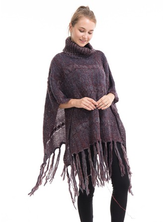 Retro/Vintage/Tassel Oversized/simple/Cold weather Artificial Wool Poncho