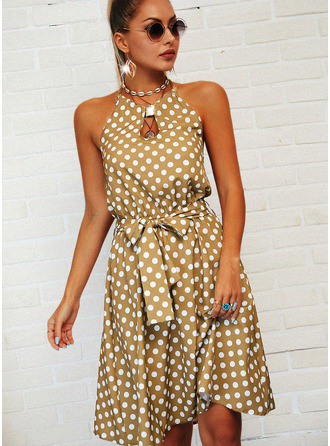 PolkaDot Backless A-line Sleeveless Midi Casual Skater Dresses