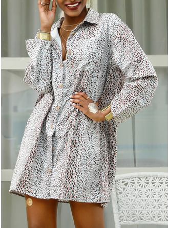 Above Knee Shirt collar Viscose Button/Print 3/4 Sleeves Fashion Dresses