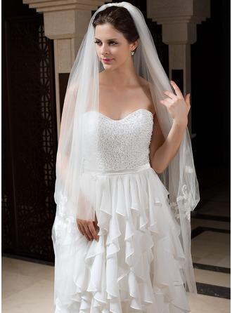 Dos capas Velos de novia vals con Corte de borde