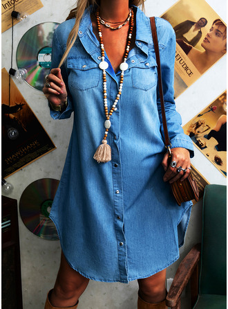 Solid Shift Long Sleeves Midi Denim Casual Shirt Dresses