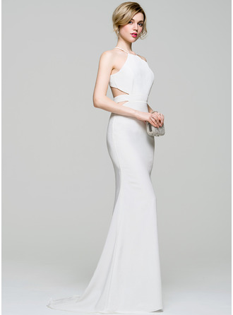 Trumpet/Mermaid Scoop Neck Sweep Train Jersey Prom Dress