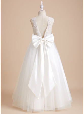 Ball-Gown/Princess Scoop Neck Floor-length With Beading/Bow(s) Tulle/Lace Flower Girl Dress