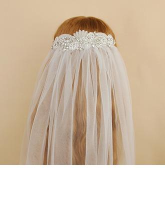 One-tier Cut Edge Elbow Bridal Veils With Beading/Rhinestones