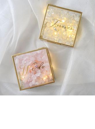 Regalos De La Novia - Personalizado Fascinante Etiqueta Vidrio Crystal Flor Anillo titular