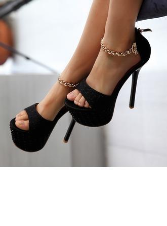 De mujer Cuero Tacón stilettos Sandalias con Crystal Brillo Chispeante Cadena zapatos