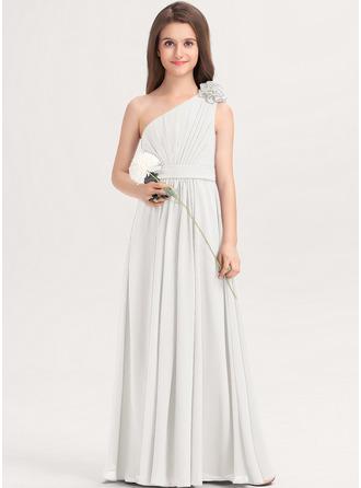 A-Linie Eine Schulter Bodenlang Chiffon Kleider für junge Brautjungfern mit Rüschen Blumen