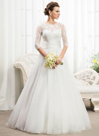 Платье для Балла Круглый Длина до пола Органза Кружева Свадебные Платье с Рябь развальцовка блестки