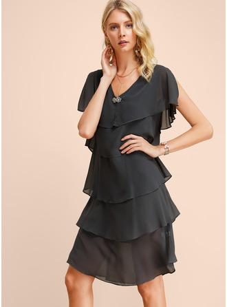 Aラインワンピース キャップスリーブ ミディ ファッションドレス
