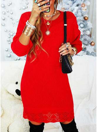 Round Neck Casual Long Solid Sweaters
