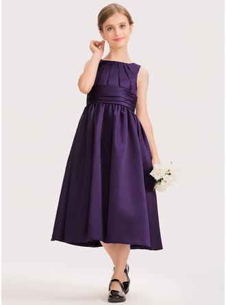A-Linie U-Ausschnitt Wadenlang Satin Kleid für junge Brautjungfern mit Rüschen