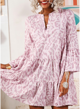Print Shift Flare Sleeve Long Sleeves Midi Casual Dresses